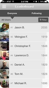 AU mobile app leaderboard